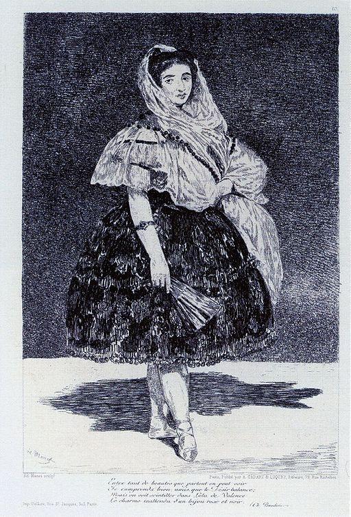 Edouard Manet, Lola de Valence, eau-forte et aquatinte, 23.5 x 16.1, 1863.