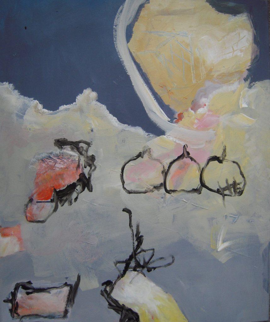 Elizabeth Bouvret, trois pommes, technique mixte su toile, 80x65