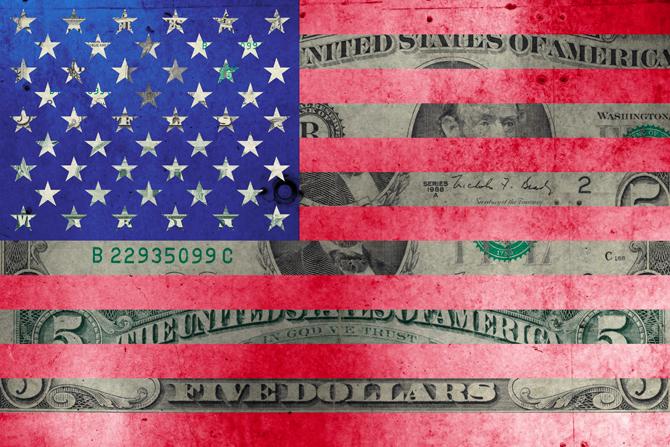6ro, 5 dollar flag, Technique mixte sur toile, oeuvre tirée à 10 exemplaires, 80X120