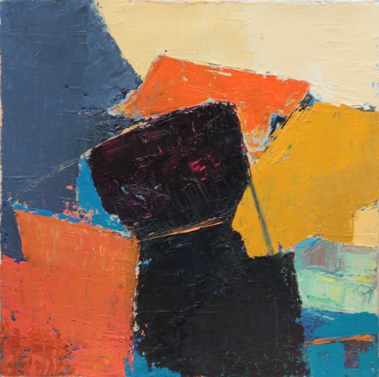 Bernadette Goerger, Sans titre 8, huile sur toile, 40 x 40, Cubisme