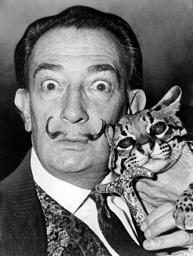 Salvador Dali with Ocelot and cane, 1965