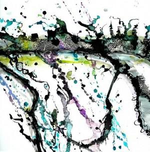 Anne Marrec, A Zao Wou Ki, 50 x 50, encre de chine et aquarelle sur papier marouflé sur toile, 2013
