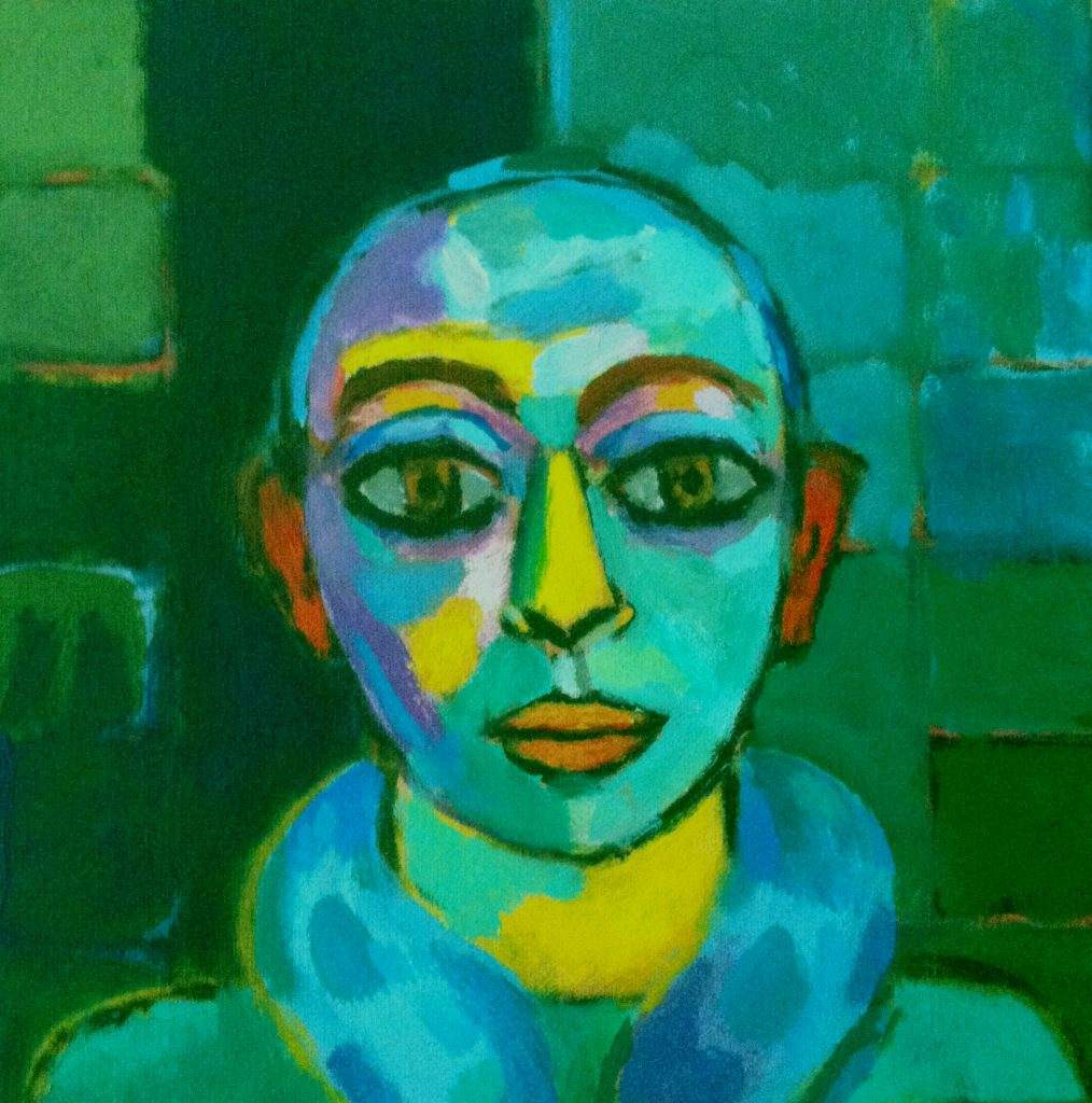Le clown Ewo, Jacky Chriqui | Acrylique sur toile, 30 x 30 cm