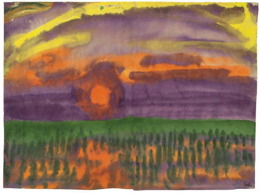 Emil Nolde, Engenhende Sonne, aquarelle, 1920