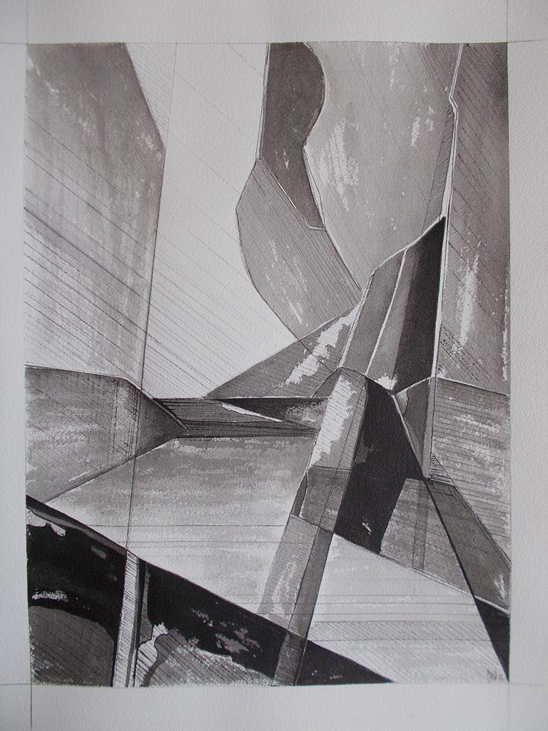 Marie-Astrid Grivet, Minéral, encre sur papier, 61x64, Cubisme