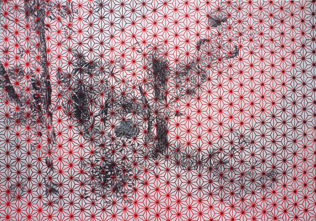 Arthur LAMBERT, Tenebrae, 2013, Encre de Chine et gouache sur papier japon sérigraphié, 21 x 30 cm © Salon de Montrouge