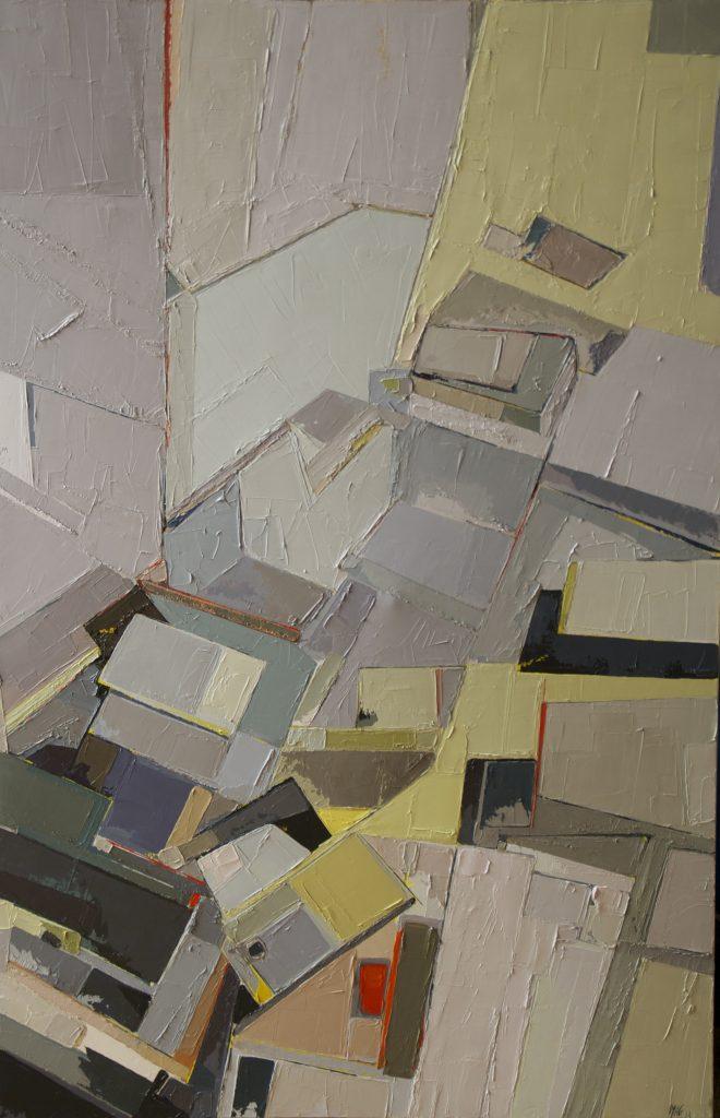 Marie-Astrid Grivet, L'envolée, huile sur toile, 100 x 65, Cubisme