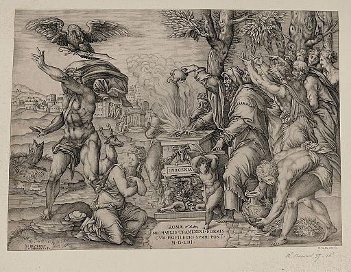 Nicolas Beatrizet, Un sacrifice, gravure au burin, bibliothèque municipale Stanislas, Nancy, 1553.
