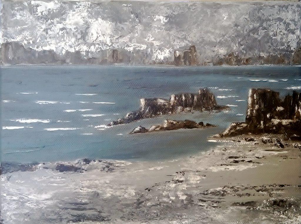 Juliette Paredes, Moon rocks, acrylique sur toile, 18X20