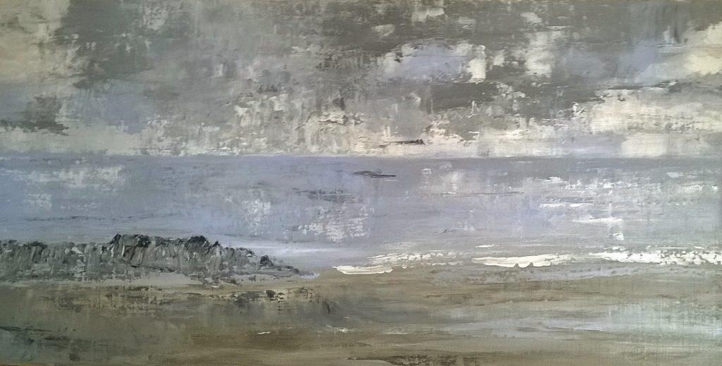 Juliette Paredes, Entre ciel et mer, acrylique sur toile, 30X60