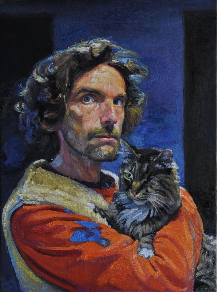 Armel Jullien, Autoportrait 15, huile sur toile, 73X54