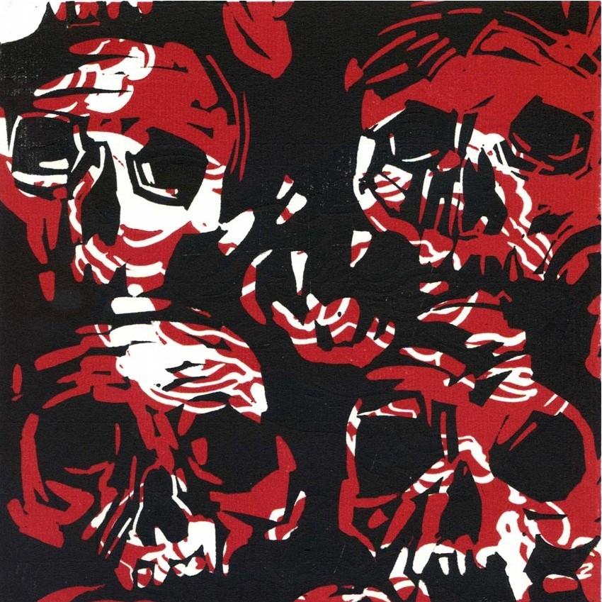 Olivier Morel, Crânes noirs + nuages rouges, linogravure sur papier
