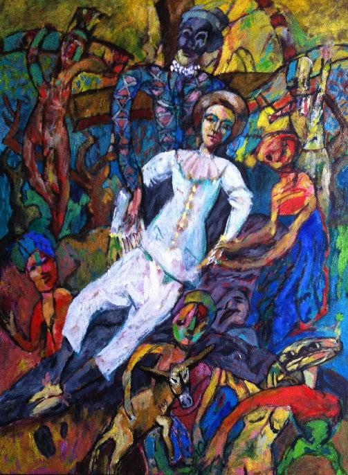 Descente de Croix au Gilles, Jacky Chriqui | Huile sur toile, 130 x 97 cm