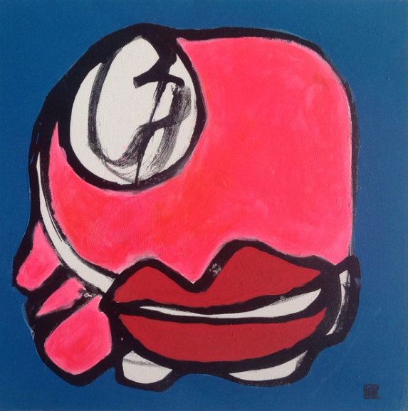 Florence Lévy, Cube vivant n°1, technique mixte sur toile, 40X40