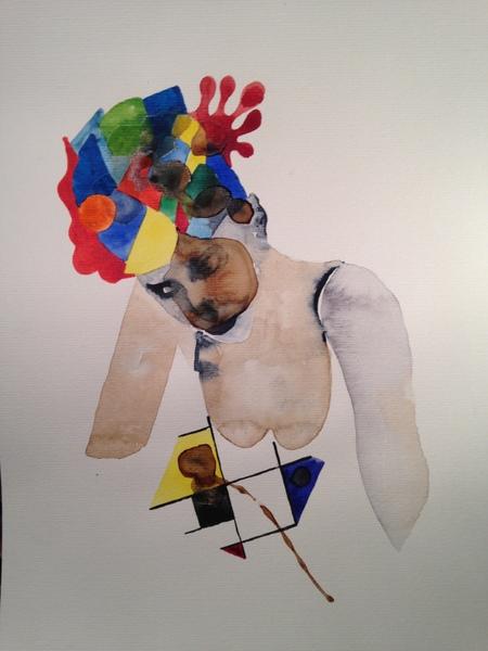 Gilles Konop, Czapka i kolory, aquarelle sur papier, 40,7 x 29,7