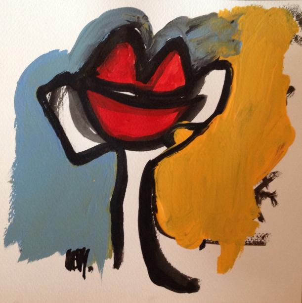 Florence Lévy, Et l'amour se porte à deux, technique mixte sur papier, 25X25