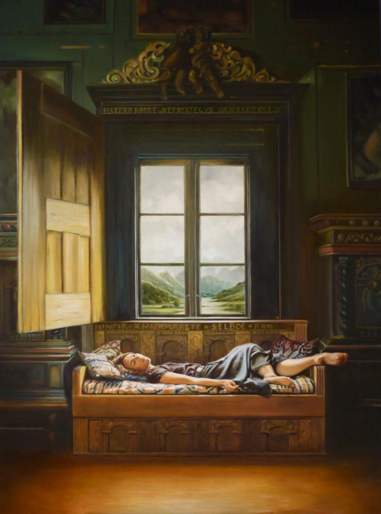 Patricia Maiocco, la belle au bois dormant, huile sur toile, 130 x 96, les ateliers d'artistes