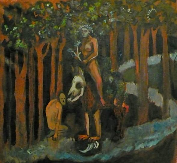 Le cheval de bataille de la grande dévoreuse, peinture, 86 x 85 cm, 2013