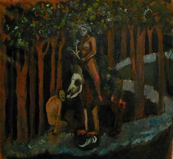 Emilie Lagarde, le cheval de la bataille de la grande dévoreuse, huile sur toile, 85 x 86