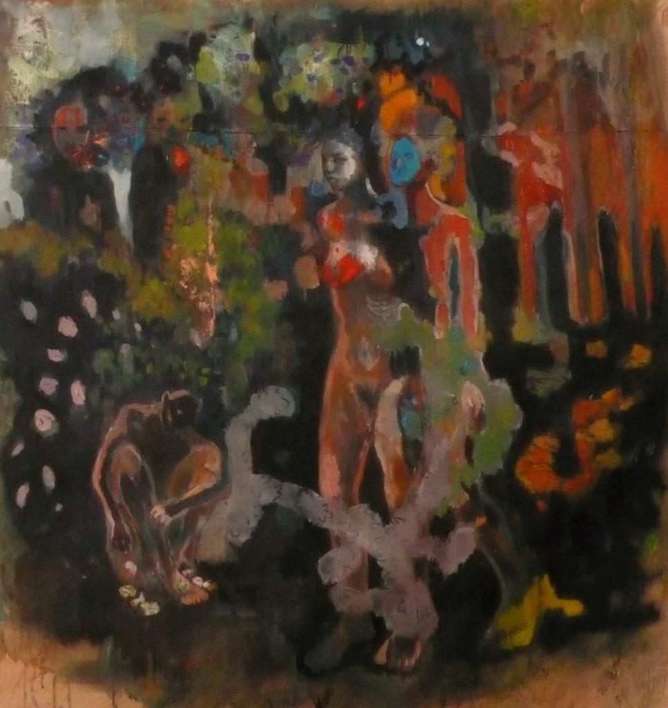 Les osselets, peinture, 112 x 119 cm, 2014