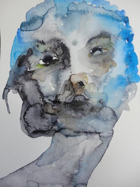Gilles Konop, Niebieski i szary twarz, aquarelle sur papier, 32 x 24