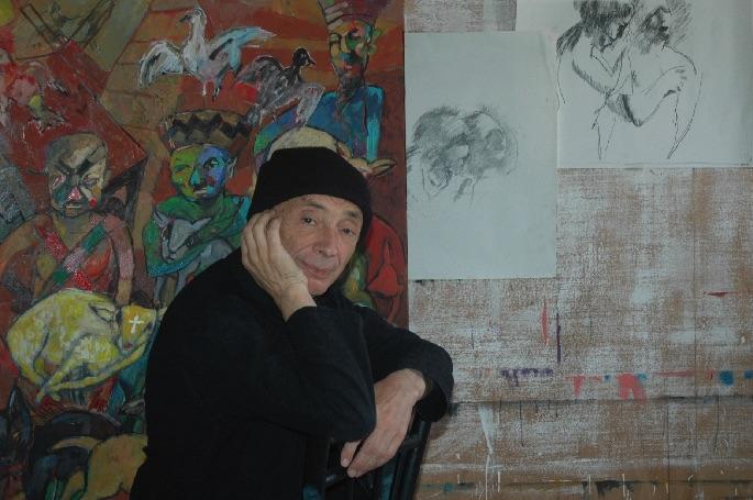 Potrait peintre Jacky Chriqui dans son atelier