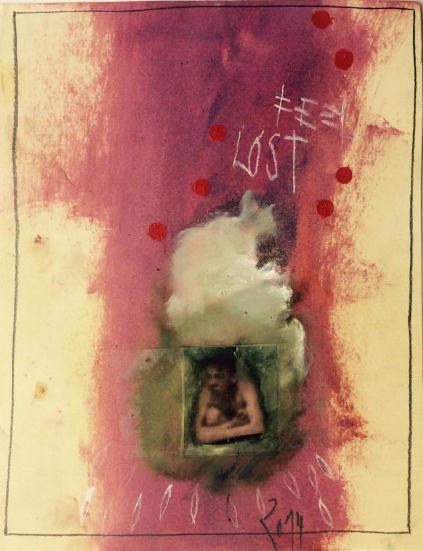 Michèle Mascherpa, sans titre n° 2014, technique mixte sur papier, 32 x 24