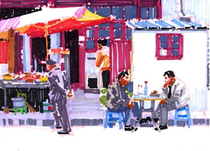 Olivier Morel, Shangai 11, dessin sur papier, 13,6 x 18,7