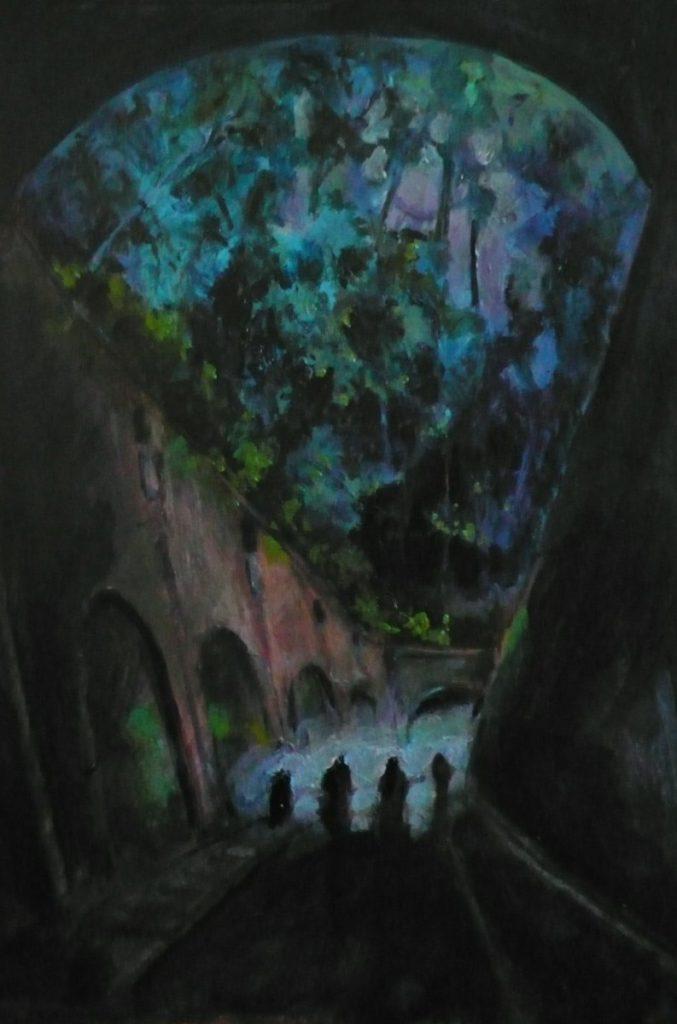 Les souterrains, peinture, 21 x 28 cm, 2014