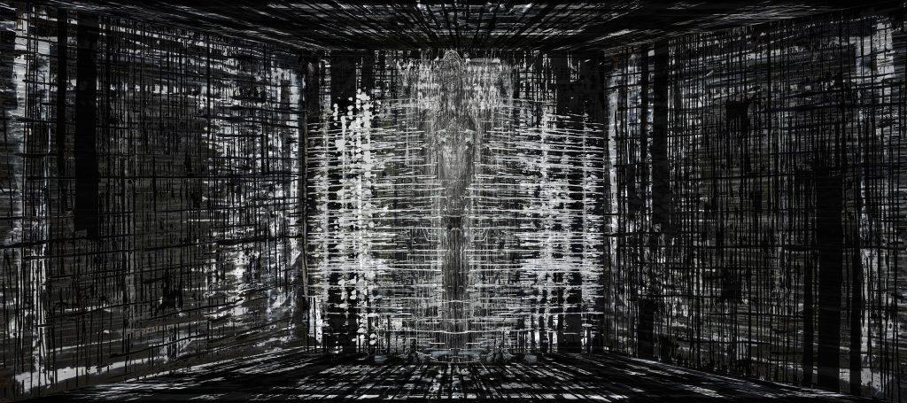 Michel Vautier, Automythologie III, estampe sur papier, 40x90