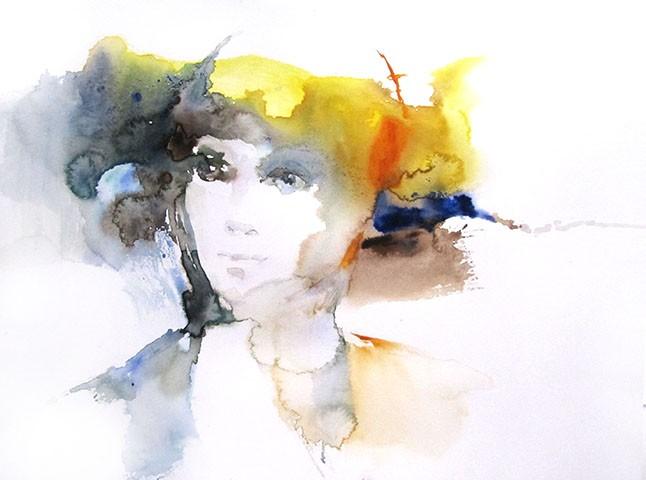 Apparition, Sylvia Baldeva, 30x45, aquarelle sur papier