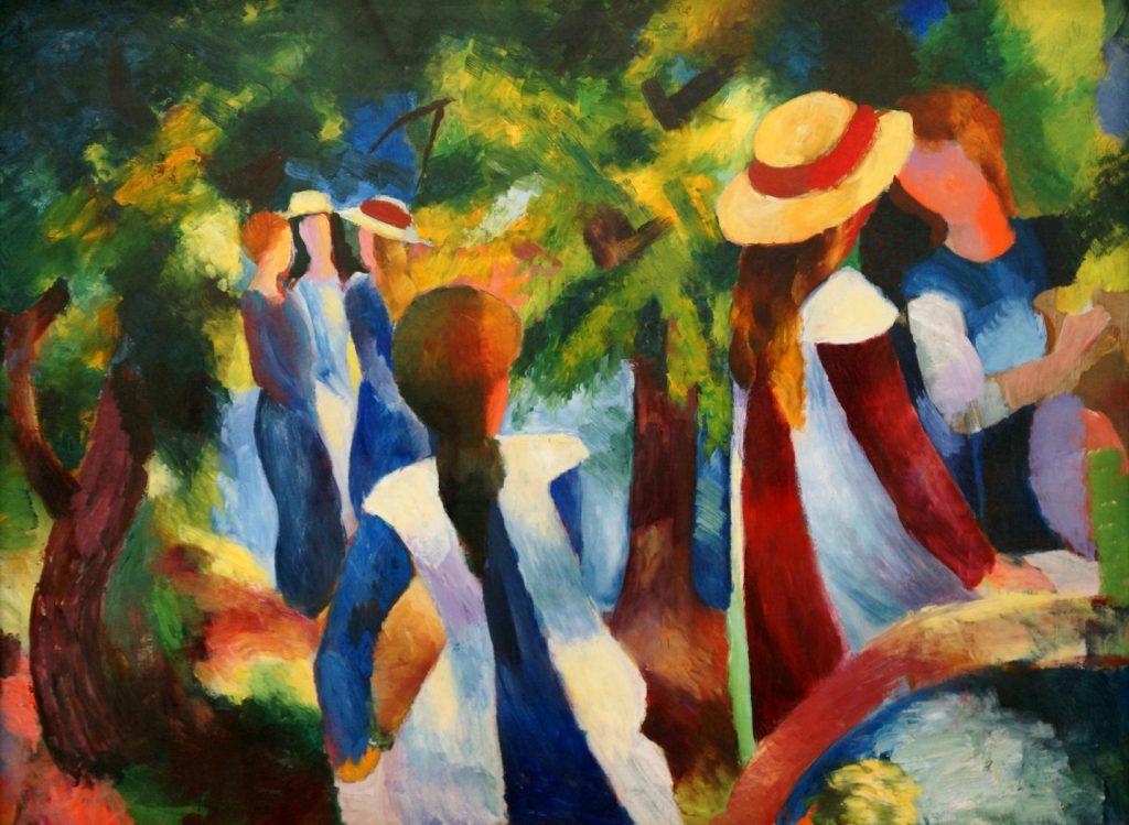 Mädchen unter den Bäumen, August Macke, 1914, aquarelle