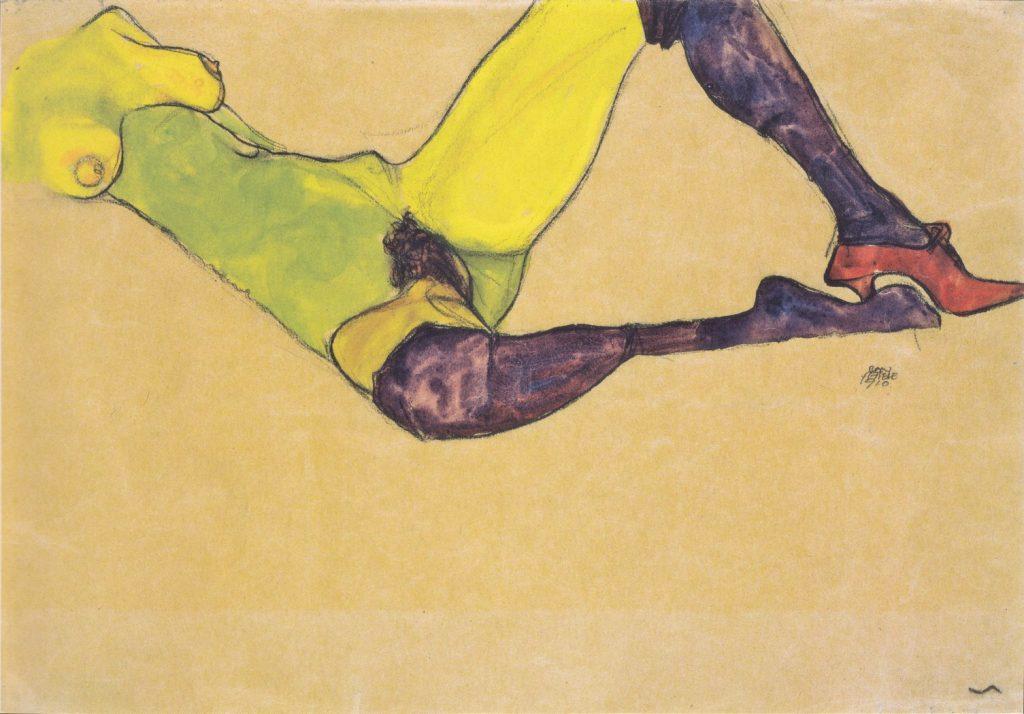 Liegender weiblicher Akttorso, Egon Schiele,1910, aquarelle