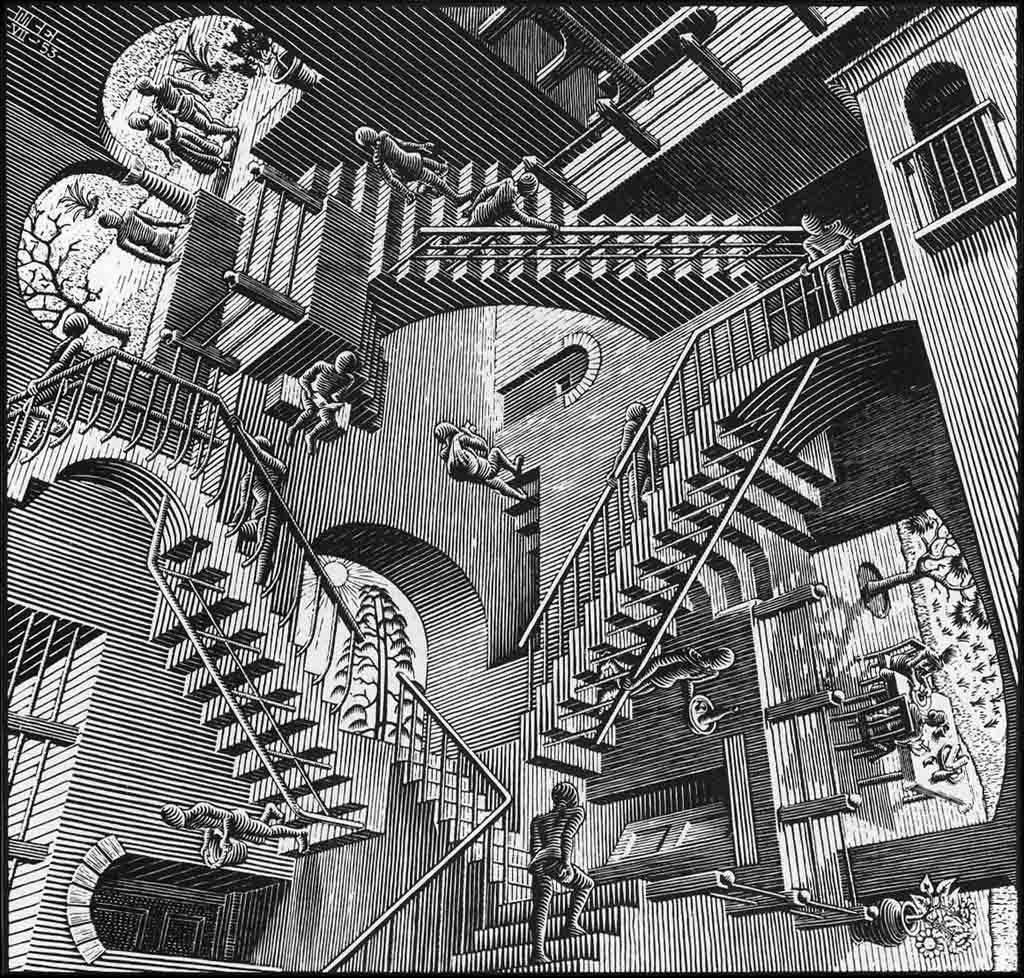 MC Escher, Relativité, 1953, 28.2x29.4cm