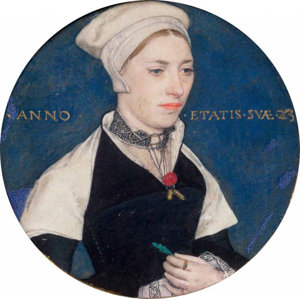 Hans Holbein, Portrait de Jane Pemberton, 16e s, aquarelle sur vélin