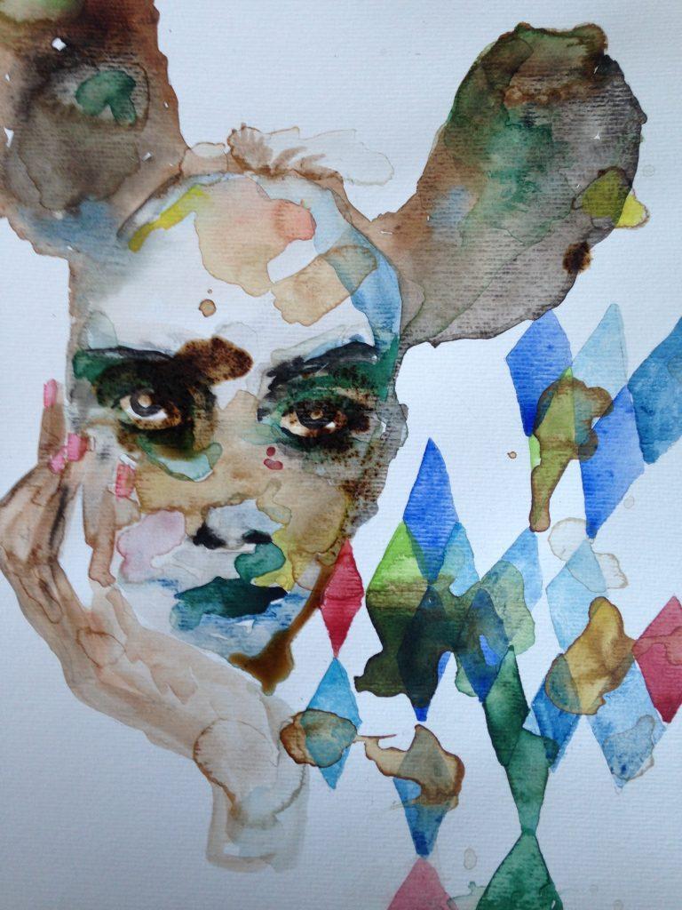 Ohrringe und Diamanten, Gilles Konop, 40.7x29.7, aquarelle