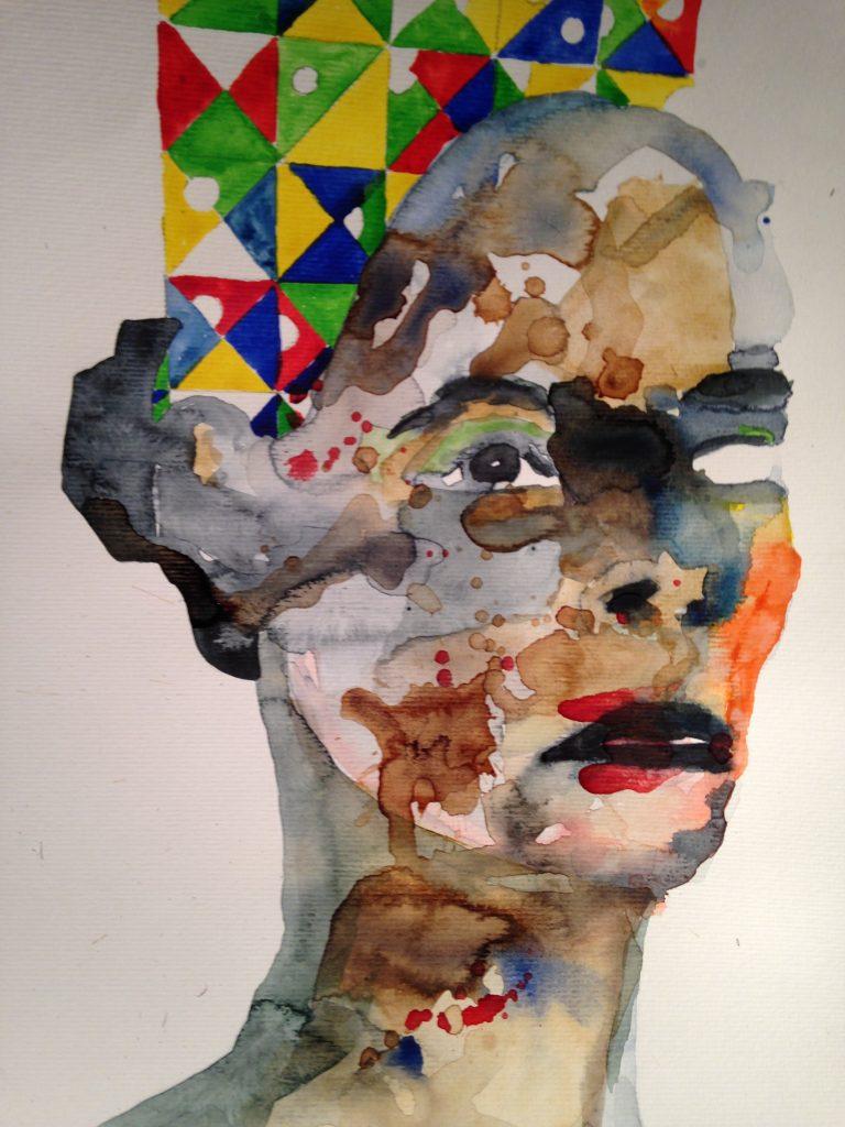 Gilles Konop, Piękne Frida, aquarelle sur papier, 40.7x29.7