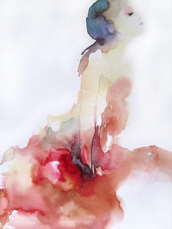 Robe rouge, Sylvia Baldeva, 32x24, aquarelle sur papier