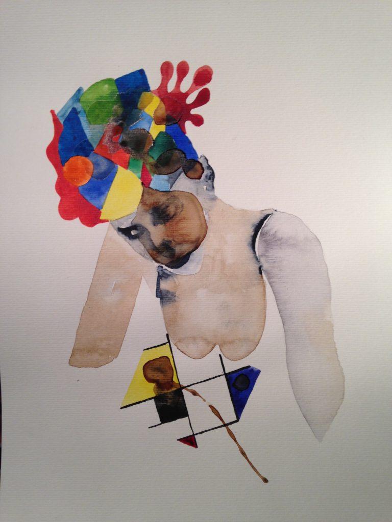 Gilles Konop, czapka i kolory, aquarelle sur papier, 40.7x29.7