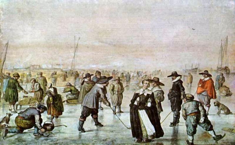 Heindrick Avercamp, Scène sur la glace, 17es, aquarelle