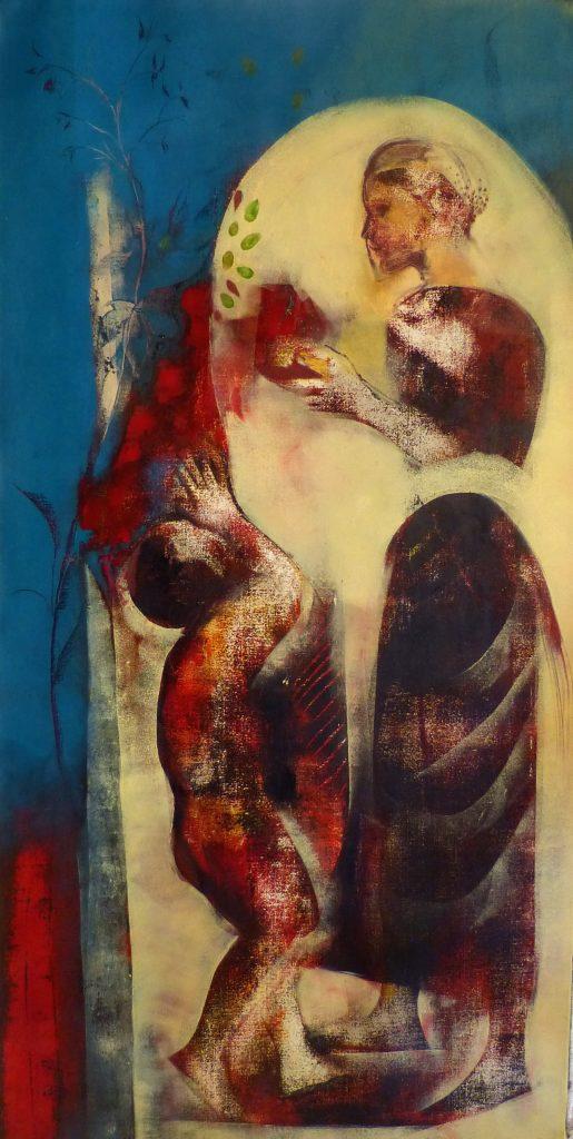 Frédérique Belaubre, Un cadeau, 120 x 60 cm Peinture à l'huile sur toile, Oeuvre KAZoART coup de coeur de Flore de Saint Just