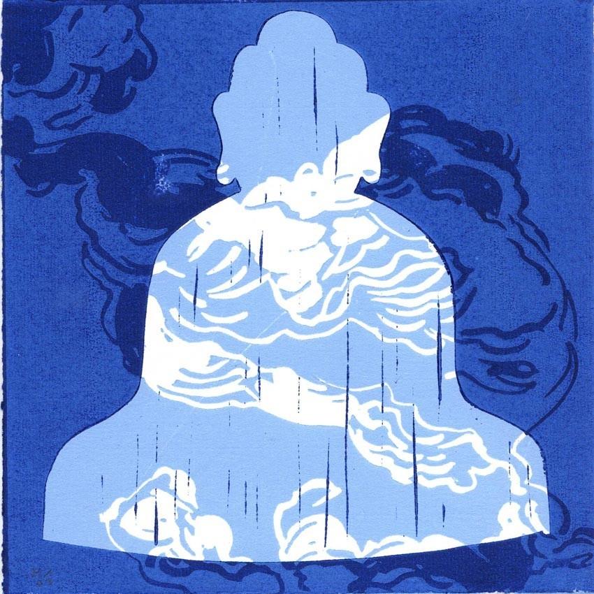 Bouddha bleu + nuages bleus - Olivier Morel