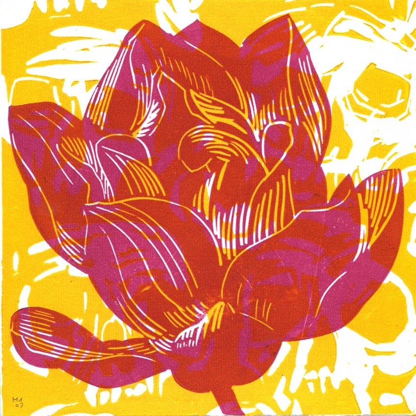 Lotus rose + crânes jaunes, Olivier Morel, 30€ pour KAZoART