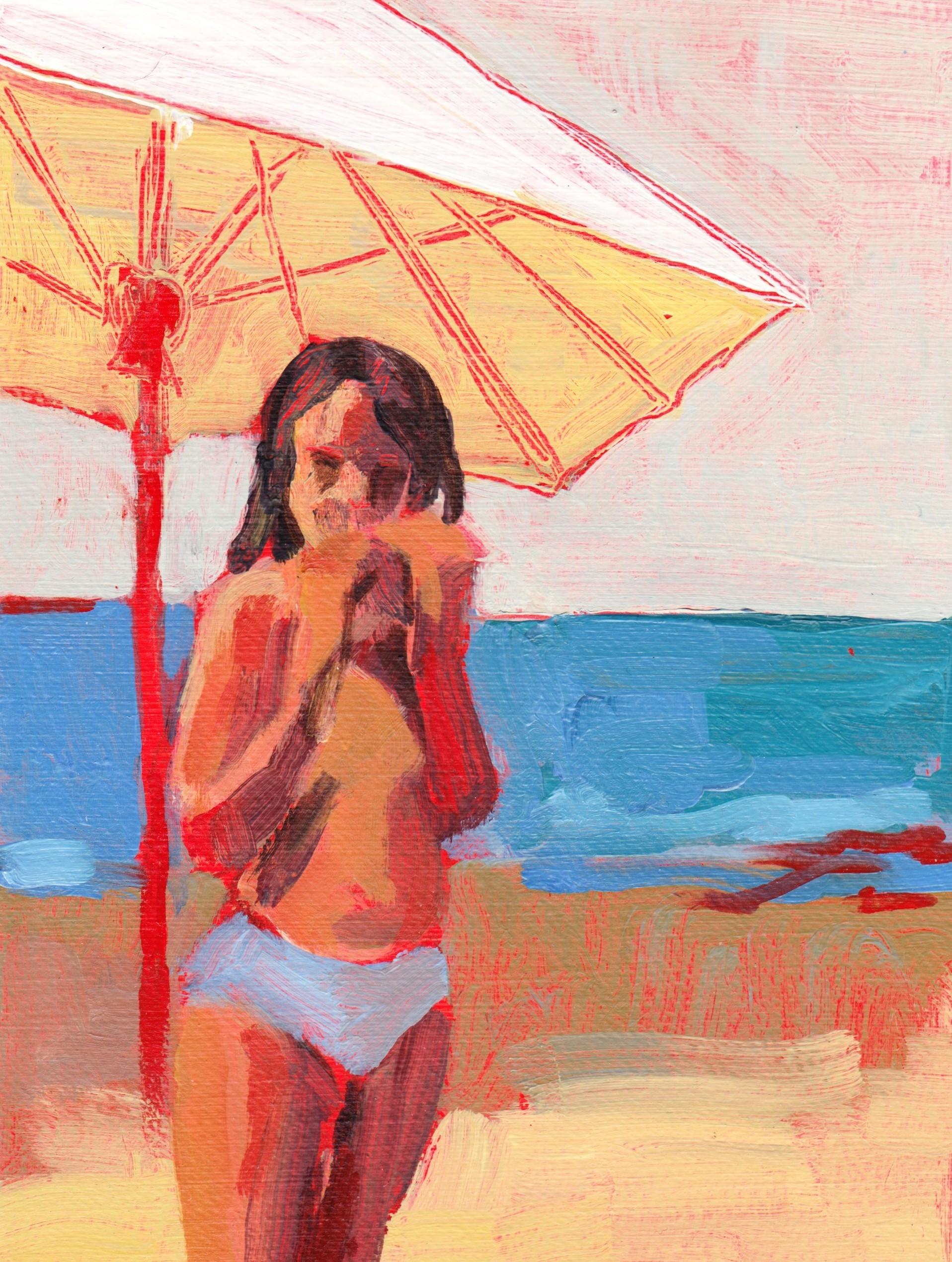 Série Plage - Fille au parasol - Alexandra Chauchereau - KAZoART