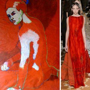 Nu rouge et blanc d'Hélène de Maneville chez KAZoART vs collection Valentino 2016