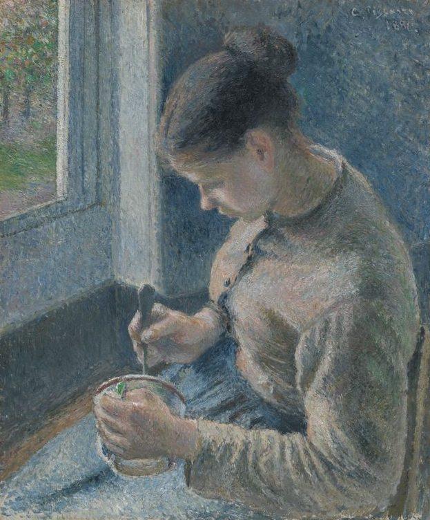 Camille Pissaro - Jeune paysanne prenant son café - Éternels Eclairs - KAZoART