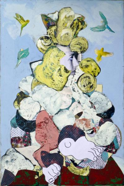 Femme blonde, latex noir et oiseaux, Pascal Marlin, Collage (195 x 130)
