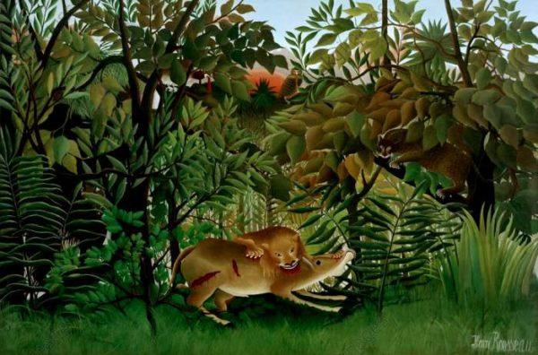 Le lion ayant faim se jette sur l'antilope, Henri Rousseau, 1898-1905