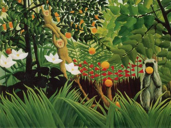 Paysage exotique avec des singes jouant, Henri Rousseau, 1910