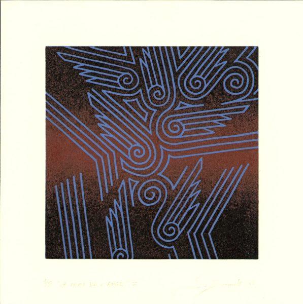 La chute de l'ange I (bleu outremer et ocre rouge) - Éric Durant